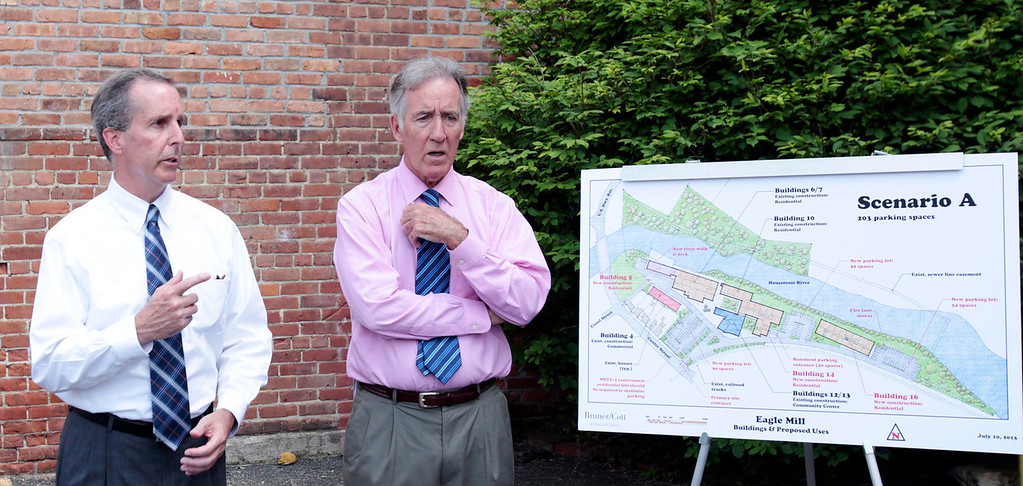 . Rep. William \'Smitty\' Pignatelli, left, and Congressman Richard Neal announce a $115,000 EPA Brownfield Grant for the Eagle Mill Complex in Lee on Tuesday, June 17, 2014. Stephanie Zollshan / Berkshire Eagle Staff / photos.berkshireeagle.com