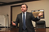 Candidate for Lieutenant Governor, Steve Kerrigan, speaks in Williamstown with Williamstown Democratic activists Wednesday night. (Jack Guerino/North Adams Transcript)