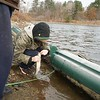 BEN GARVER — THE BERKSHIRE EAGLE<br /> Robert Houghtlin catches and releases a rainbow trout near the spillway at Pontoosuc Lake in Pittsfield while fishing with his friend Andrew Dupont, Friday, November 29, 2019.