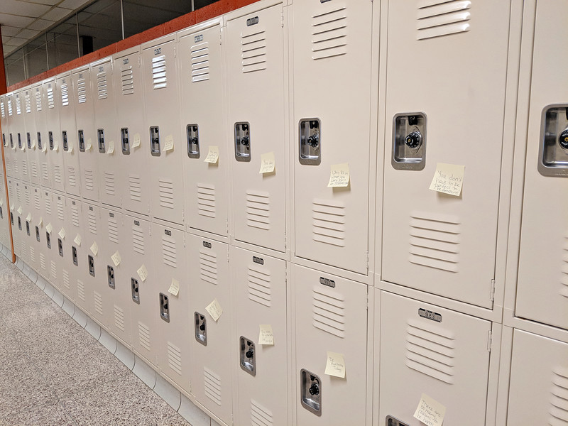 CINDY BREDA / GAZETTE Buckeye Schools Superintendent Kent Morgan said all students from the elementary school to the high school had a special note placed on their locker