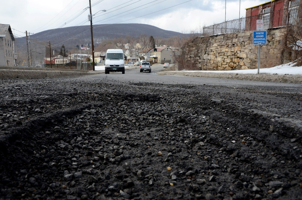 . It is that time of year again for potholes. These are on Canal Street in North Adams. Gillian Jones/Berkshire Eagle Staff