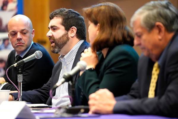 BEN GARVER — THE BERKSHIRE EAGLE<br /> Representative Paul Mark speaks during the Poverty Forum presented by the Berkshire County Community Action Council at Williams College, Friday, January 11, 2019. Senator Adam Hinds, Representative Tricia Farley-Bouvier and Representative John Barrett III were also on the panel.