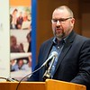 BEN GARVER — THE BERKSHIRE EAGLE<br /> North Adams Mayor Tom Bernard described the safety net created by the agencies in the berkshire working together at the conclusion of  the Poverty Forum presented by the Berkshire County Community Action Council at Williams College, Friday, January 11, 2019. Senator Adam Hinds, Representative Paul Mark and Representative Tricia Farley-Bouvier were also on the panel.
