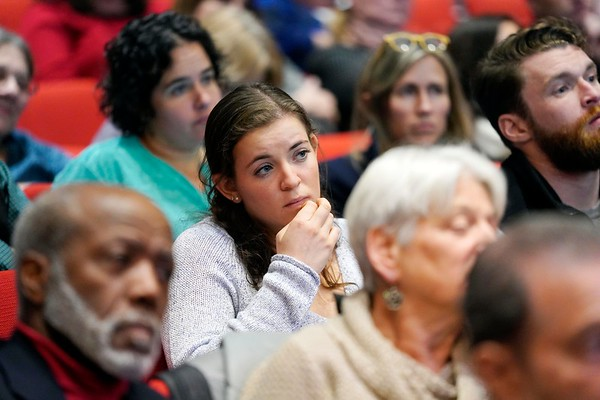 BEN GARVER — THE BERKSHIRE EAGLE<br /> Attendees listen during the discussion at the Poverty Forum presented by the Berkshire County Community Action Council at Williams College, Friday, January 11, 2019.