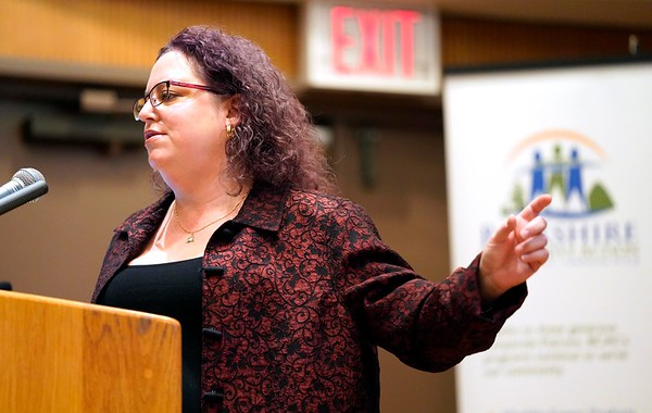 "BEN GARVER — THE BERKSHIRE EAGLE<br /> Alisa Costa, Executive Director for Pittsfield's Working Cities Initiative, explains the ""Cliff Effect"" as a barrier to getting out of poverty from welfare at the Poverty Forum presented by the Berkshire County Community Action Council at Williams College, Friday, January 11, 2019."