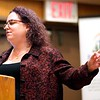 """BEN GARVER — THE BERKSHIRE EAGLE<br /> Alisa Costa, Executive Director for Pittsfield's Working Cities Initiative, explains the """"Cliff Effect"""" as a barrier to getting out of poverty from welfare at the Poverty Forum presented by the Berkshire County Community Action Council at Williams College, Friday, January 11, 2019."""