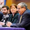 BEN GARVER — THE BERKSHIRE EAGLE<br /> Representative John Barrett speaks during the Poverty Forum presented by the Berkshire County Community Action Council at Williams College, Friday, January 11, 2019. Senator Adam Hinds, Representative Paul Mark and Representative Tricia Farley-Bouvier were also on the panel.