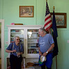 ELODIE REED - FOR THE BENNINGTON BANNER Pownal Historical Society board members Fran Lampman, left, and Walt Klinger, right, chat during an open house at School House #8 Sunday. Lampman, 91, attended the one-room schoolhouse for grades one through eight.