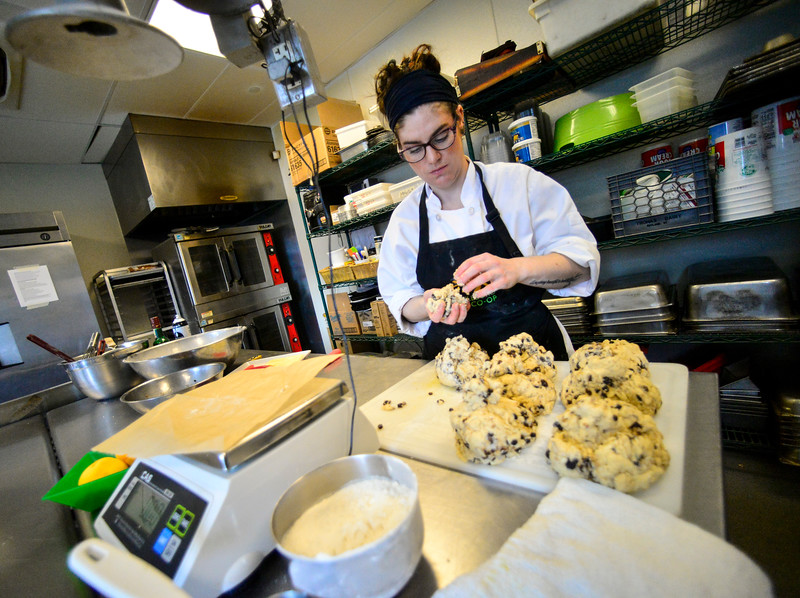 People at the Brattleboro Food Co-Op prepare some St. Patrick's traditional meals as they bake three different types of soda bread and plenty of corned beef for the weekend.