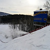 KRISTOPHER RADDER - BRATTLEBORO REFORMER <br /> Crews blow snow at the Harris Hill Ski Jump.