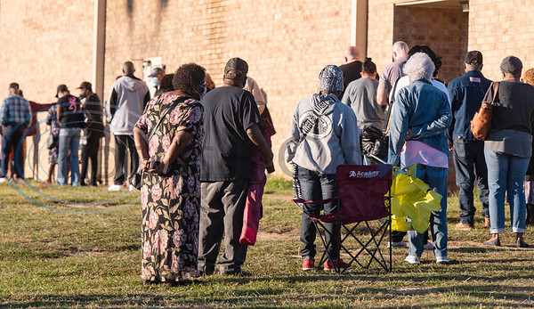 The line of people waiting to cast their ballots wrapped to the back of the Heritage Building,1900 Bellwood Rd, out into a field as polls opened this morning Tuesday, Oct. 13, 2020 at 8 a.m. in Tyler, Texas for early voting for the November presidential election.     Early Voting Dates, Times, and Locations Tuesday - Friday October 13 - 16, 2020 8:00 a.m. - 5:00 p.m. Monday - Friday October 19 - 23, 2020 8:00 a.m. - 5:00 p.m.  Saturday October 24, 2020    7:00 a.m. - 7:00 p.m.  Sunday  October 25, 2020  12:00 p.m. - 5:00 p.m.  Monday - Friday October 26 - 30, 20207:00 a.m. - 7:00 p.m.  Smith County HUB 304 E Ferguson St Tyler  Heritage Building 1900 Bellwood Rd Tyler  Chapel Hill Fire Department  13801 County Road 220 Tyler  Noonday Community Center 16662 County Road 196 Tyler  WorkHub 7922 S Broadway Ave Tyler  Lindale Kinzie Community Center 912 Mt Sylvan St Lindale  TASCA Activity Center 10495 County Road 2167 Whitehouse