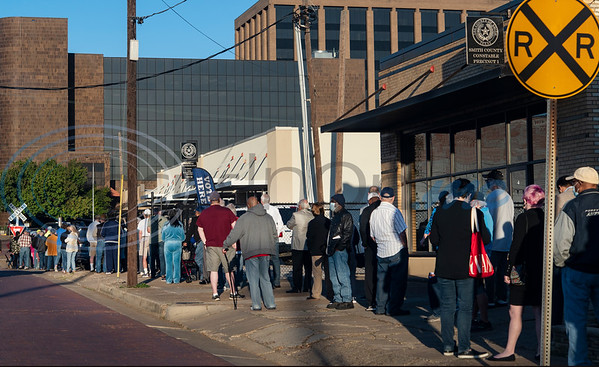 The line of people waiting to cast their ballots was long outside of The HUB in downtown Tyler as polls opened this morning Tuesday, Oct. 13, 2020 at 8 a.m. in Tyler, Texas for early voting for the November presidential election.     Early Voting Dates, Times, and Locations Tuesday - Friday October 13 - 16, 2020 8:00 a.m. - 5:00 p.m. Monday - Friday October 19 - 23, 2020 8:00 a.m. - 5:00 p.m.  Saturday October 24, 2020    7:00 a.m. - 7:00 p.m.  Sunday  October 25, 2020  12:00 p.m. - 5:00 p.m.  Monday - Friday October 26 - 30, 20207:00 a.m. - 7:00 p.m.  Smith County HUB 304 E Ferguson St Tyler  Heritage Building 1900 Bellwood Rd Tyler  Chapel Hill Fire Department  13801 County Road 220 Tyler  Noonday Community Center 16662 County Road 196 Tyler  WorkHub 7922 S Broadway Ave Tyler  Lindale Kinzie Community Center 912 Mt Sylvan St Lindale  TASCA Activity Center 10495 County Road 2167 Whitehouse