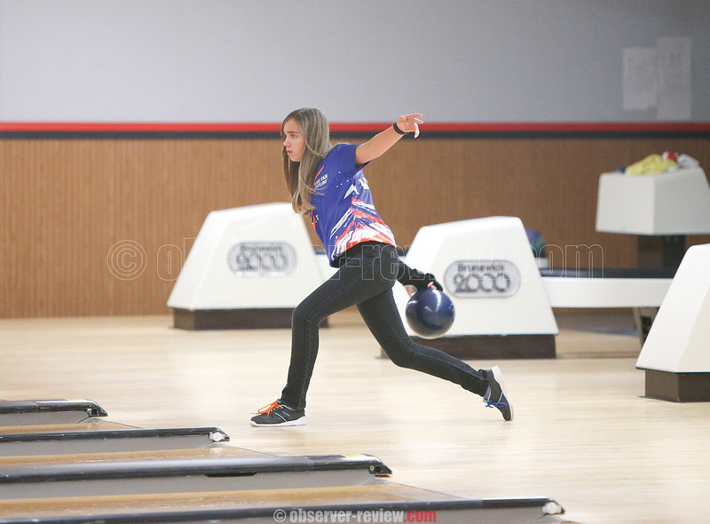Kari Ayers bowls for Penn Yan in the non league match against Dundee last Tuesday.