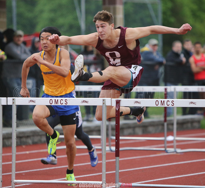 Andy Fudala competes in the 110 meter hurdles event, which he won, Friday, May 5.