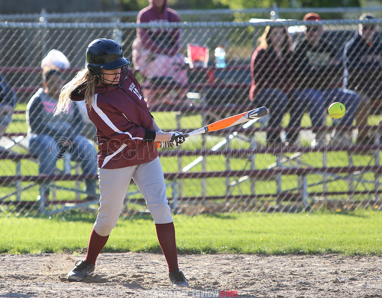 Madison Neu connects during the softball game against Marcus Whitman last Wednesday, April 3.