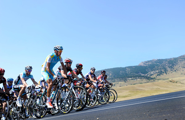 "Roman Kreusiger, front, leads the peloton during a section of Stage 6 during the USA Pro Challenge on Saturday, Aug. 25. For more photos and video of the race go to  <a href=""http://www.dailycamera.com"">http://www.dailycamera.com</a><br /> Jeremy Papasso/ Camera"