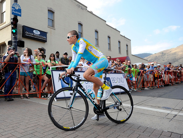 "Janez Brajkovic rides past cycling fans before checking in at the Stage 6 start gate in Golden during the USA Pro Challenge on Saturday, Aug. 25. For more photos and video of the race go to  <a href=""http://www.dailycamera.com"">http://www.dailycamera.com</a><br /> Jeremy Papasso/ Camera"