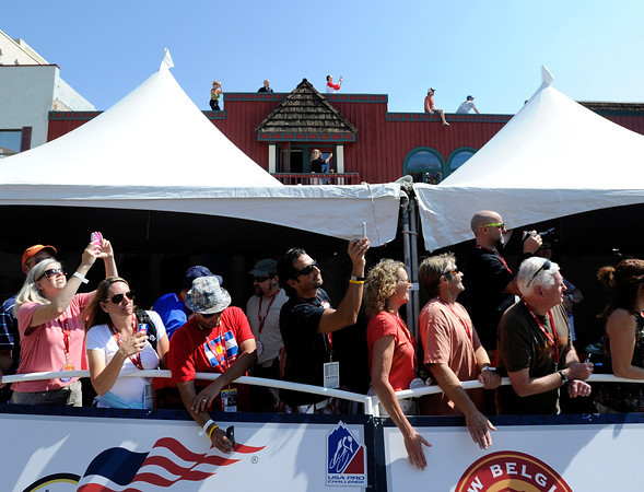 "Fans gather on rooftops and along side Washington Street in Golden for the start of Stage 6 during the USA Pro Challenge on Saturday, Aug. 25. For more photos and video of the race go to  <a href=""http://www.dailycamera.com"">http://www.dailycamera.com</a><br /> Jeremy Papasso/ Camera"