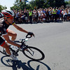 Jens Voigt, of the RadioShack-Nissan-Trek team, leads the USA Pro Cycling Challenge around the corner at Canyon Boulevard onto 17th Street in Boulder Saturday Aug. 25, 2012. (Lewis Geyer/Boulder Daily-Camera)