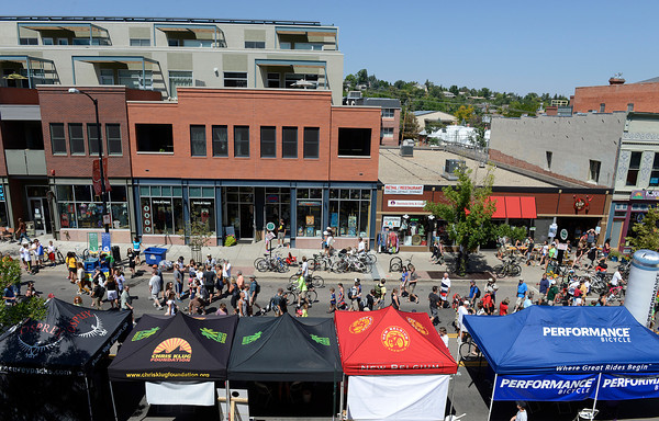 Pearl Street, between 15th and 16th streets, is filled with vendors' tents for the USA Pro Cycling Challenge in Boulder Saturday Aug. 25, 2012. (Lewis Geyer/Boulder Daily-Camera)
