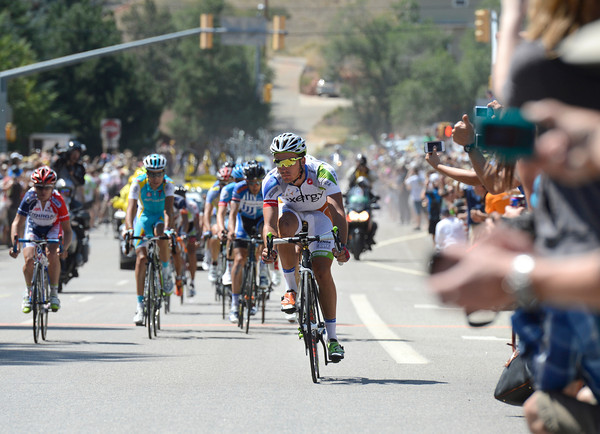 "Serghei Tvetcov, front, wins the sprint in downtown Lyons during Stage 6 of the USA Pro Challenge on Saturday, Aug. 25. For more photos and video of the race go to  <a href=""http://www.dailycamera.com"">http://www.dailycamera.com</a><br /> Jeremy Papasso/ Camera"