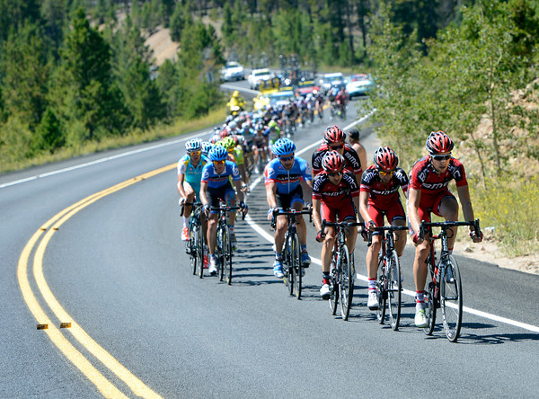 "Taylor Phinney leads the peloton during Stage 6 of the USA Pro Challenge on Saturday, Aug. 25. For more photos and video of the race go to  <a href=""http://www.dailycamera.com"">http://www.dailycamera.com</a><br /> Jeremy Papasso/ Camera"