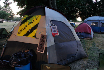 DAVID KNOX / GAZETTE Many of those camping at Kirtland Park, where demonstrators at the Republican National Convention were allowed to stay overnight at no cost, were veterans of the 2011 Occupy Wall Street movement.