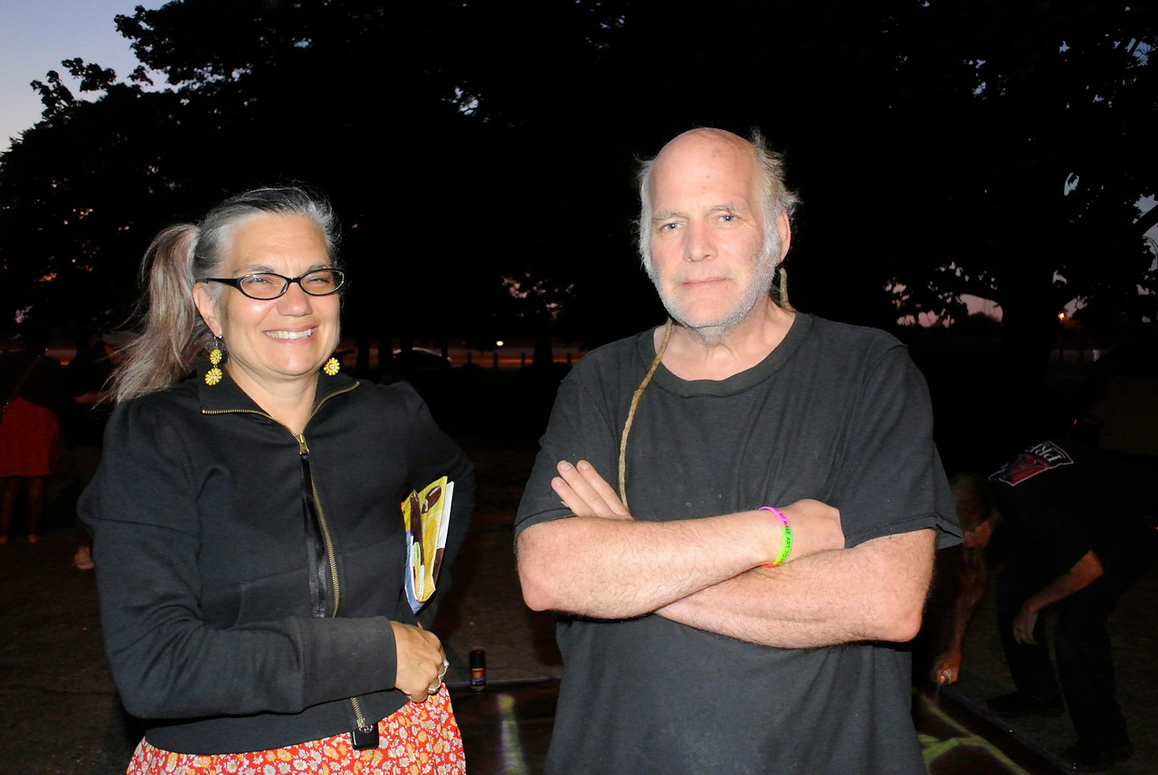 DAVID KNOX / GAZETTE Veteran social activists Louise Foreman and Danyl Chambers, of Euclid, brought food and water Tuesday night to demonstrators camped at Cleveland's Kirtland Park, located along the Shoreway's South Marginal Road, between East 40th and East 49th streets.