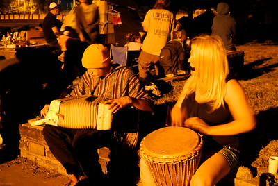 DAVID KNOX / GAZETTE Musicians provide impromptu entertainment at Cleveland's Kirtland Park, where demonstrators at the Republican National Convention were allowed to stay overnight at no cost.