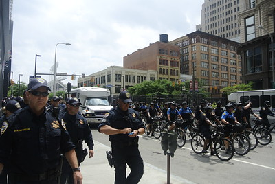 DAVID KNOX/GAZETTE Area police patrol downtown on the first day of the Republican National Convention in Cleveland.