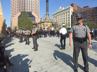 BRUCE BISHOP/GAZETTE Downtown Cleveland had a heavy police presence Tuesday, July 19.