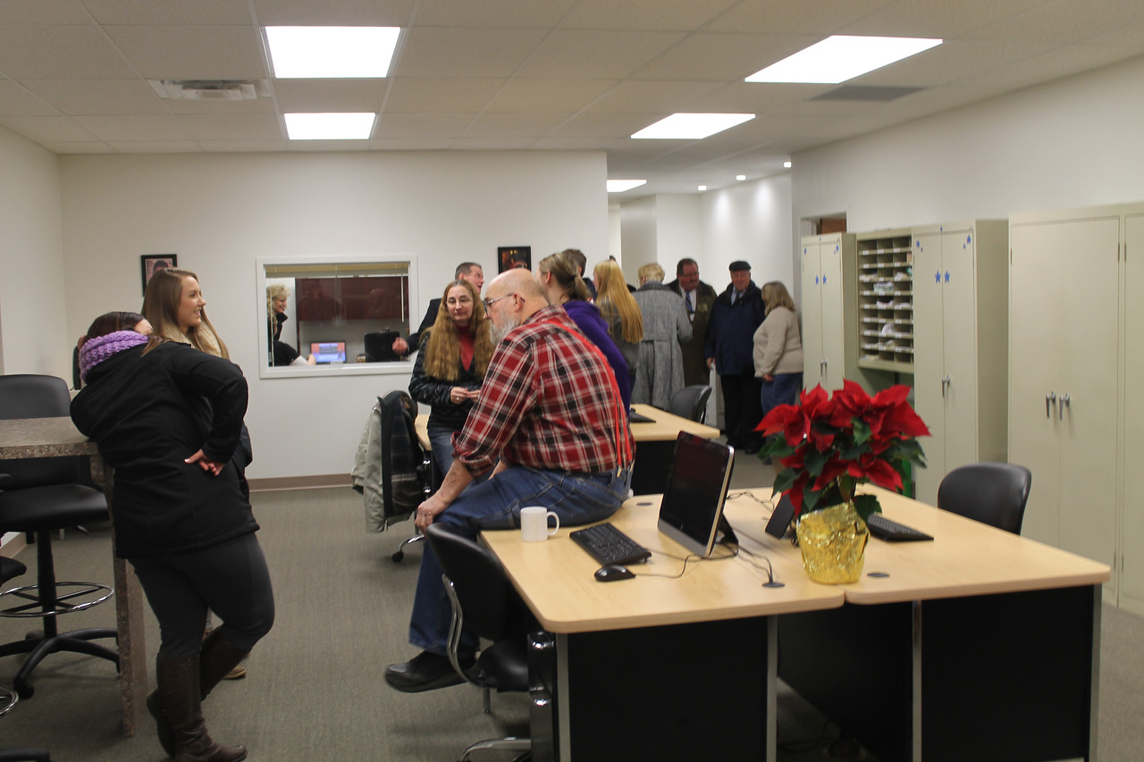 LAWRENCE PANTAGES / GAZETTE More than 100 visitors toured the new Medina County Fair building at an open house on Wednesday night. Shown here is the office and ticket window area.