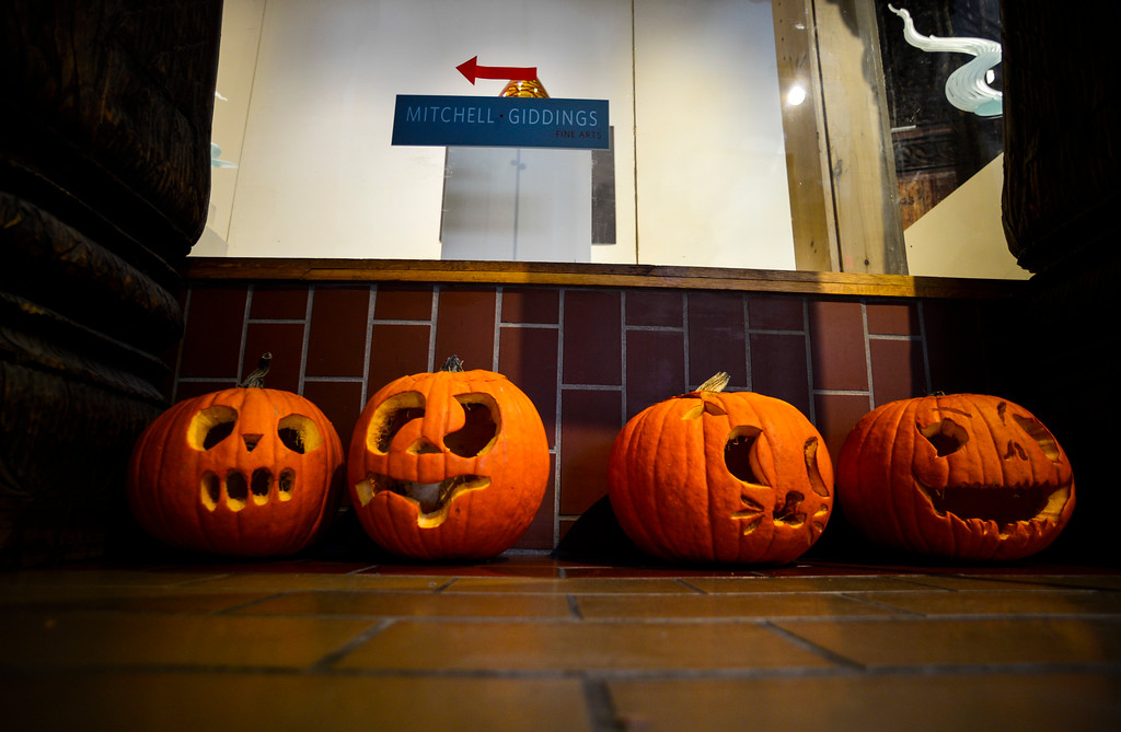 . Pumpkins craved by students from the Dummerston School were on display around local businesses in Brattleboro on Monday, Oct. 31, 2016.