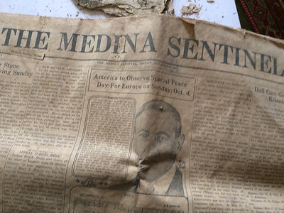 ANNIE RYAN HYRA / SPECIAL TO THE GAZETTE A Medina Sentinel newspaper from Oct. 2, 1914, was included in a time capsule found at the recently demolished Pythian Sisters home on Huntington Street in Medina.