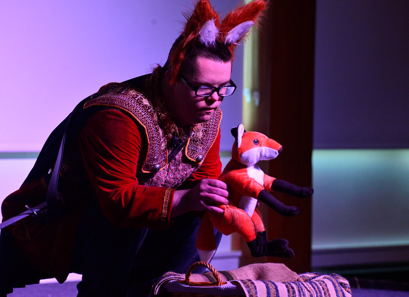 "KRISTOPHER RADDER - BRATTLEBORO REFORMER<br /> Brian White as Ronado rescues Questery the baby fox during a dress rehearsal of ""Questery"" on Monday, May 14, 2018."