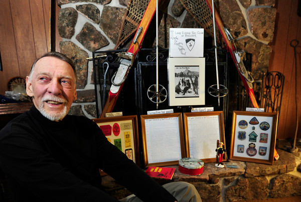 Jackson076x.jpg Ross Jackson, 80, who has been a part of the Flatirons Ski Club for 49 years, displays his memorabilia including lift tickets and patches from the 1960's at his house in Boulder on Tuesday, Feb. 19, 2012. DAILY CAMERA/ JESSICA CUNEO.