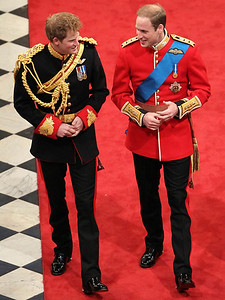 Britain's Prince Harry, left, best man to Britain's Prince William, right, arrive ahead of Prince William's marriage to Kate Middleton at Westminster Abbey, London, Friday, April 29, 2011. (AP Photo/Andrew Milligan, Pool)