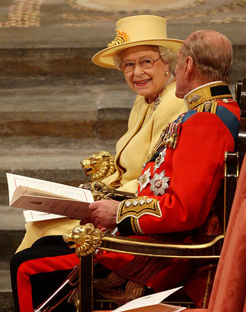 Britian's Queen Elizabeth II, her husband, the Duke of Edinburgh, take their seats at Westminster Abbey, central London before the wedding of the Queen's grandson, Prince William and Kate Middleton, Friday April 29, 2011. (AP Photo/Dave Thompson, Pool)