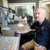 BEN GARVER — THE BERKSHIRE EAGLE<br /> Marjo Catalano and Bryan Slater banter about pop culture on the Live 95.9 morning show on WBEC in Pittsfield. Townsquare Broadcasting company is buying a cluster of Berkshire radio stations from Gamma Broadcasting LLC including WBEC, WUPE, WNAW and WSBS.