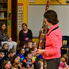 KRISTOPHER RADDER - BRATTLEBORO REFORMER<br /> Janet Polk, a bassoon player in the Vermont Symphony Orchestra's woodwind trio, Raising Cane!, talks about the history of the instrument during a performance at Saxtons River Elementary on Monday, May 14, 2018.