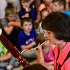 KRISTOPHER RADDER - BRATTLEBORO REFORMER<br /> Janet Polk, a bassoon player in the Vermont Symphony Orchestra's woodwind trio, Raising Cane!, demonstrates the range of the instrument during a performance at Saxtons River Elementary on Monday, May 14, 2018.