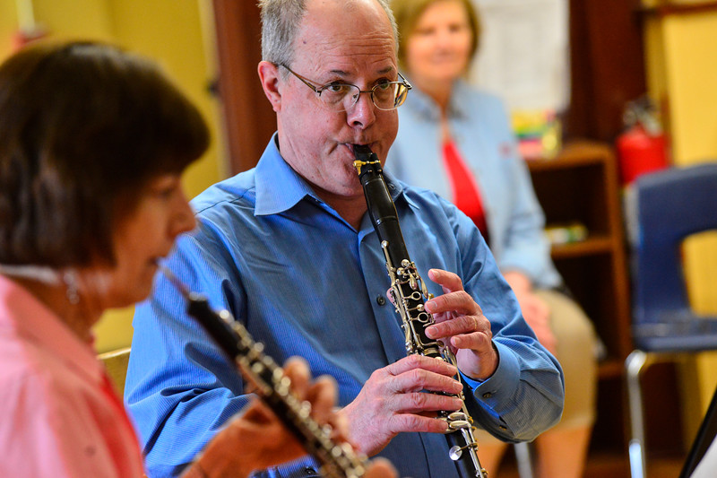 "KRISTOPHER RADDER - BRATTLEBORO REFORMER<br /> Steve Klimowski, a clarinet player in the Vermont Symphony Orchestra's woodwind trio, Raising Cane!, plays a song from the Disney movie, ""Pocahontas,"" during a performance at Saxtons River Elementary on Monday, May 14, 2018."