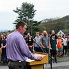 KRISTOPHER RADDER - BRATTLEBORO REFORMER<br /> Students at Brattleboro Area Middle School attend an assembly at the school's flagpole as the Black Lives Matter flag is raised during Diversity Day on Friday, May 4, 2018.