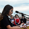 KRISTOPHER RADDER - BRATTLEBORO REFORMER<br /> Mya Satchell, an eighth-grade student at Brattleboro Area Middle School address her fellow students about what raising the Black Lives Matter flag means to her when it comes to inclusion into the community during  Diversity Day on Friday, May 4, 2018.