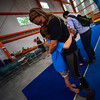 KRISTOPHER RADDER - BRATTLEBORO REFORMER<br /> Erin Lovett Sherman gives Molly Watts, 8, a hug after a performance for a summer camp at New England Center for Circus Arts' new trapezium building on Putney Road on Friday, July 14, 2017.