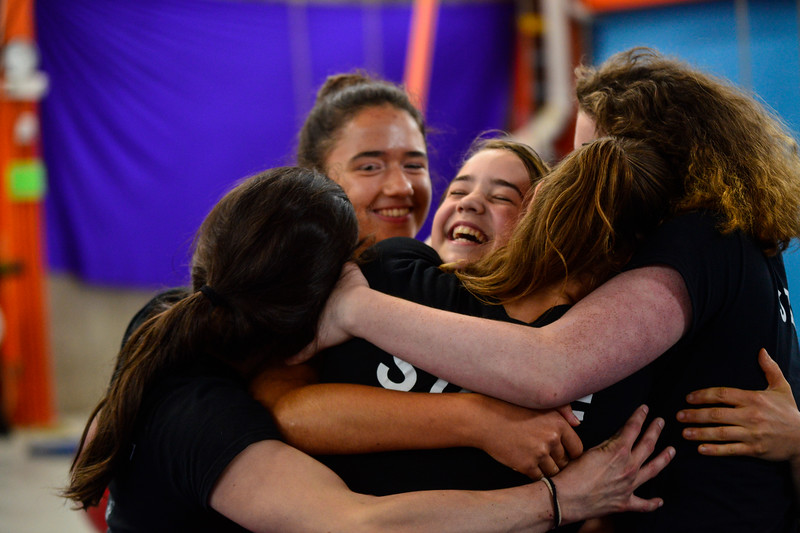 KRISTOPHER RADDER - BRATTLEBORO REFORMER<br /> Coaching staff gather in a group hug after a performance for a summer camp at New England Center for Circus Arts' new trapezium building on Putney Road on Friday, July 14, 2017.