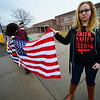 KRISTOPHER RADDER - BRATTLEBORO REFORMER<br /> Lauren Simeon, an activist from Winchester, N.H., joined in with students from Brattleboro Union High School to show support for the second amendment before the start of classes on Friday, March 30, 2018.