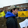 KRISTOPHER RADDER - BRATTLEBORO REFORMER<br /> Thomas Drummey, a junior at Brattleboro High School, reads prepared remarks to the crowd of people that gathered for the rally on Friday, March 30, 2018.