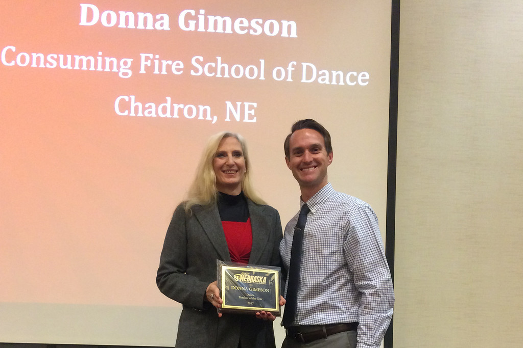 Donna Gimeson, Chadron State College alumna, left, is recognized as SHAPE Nebraska Dance Teacher of the Year for 2017. (Courtesy photo)