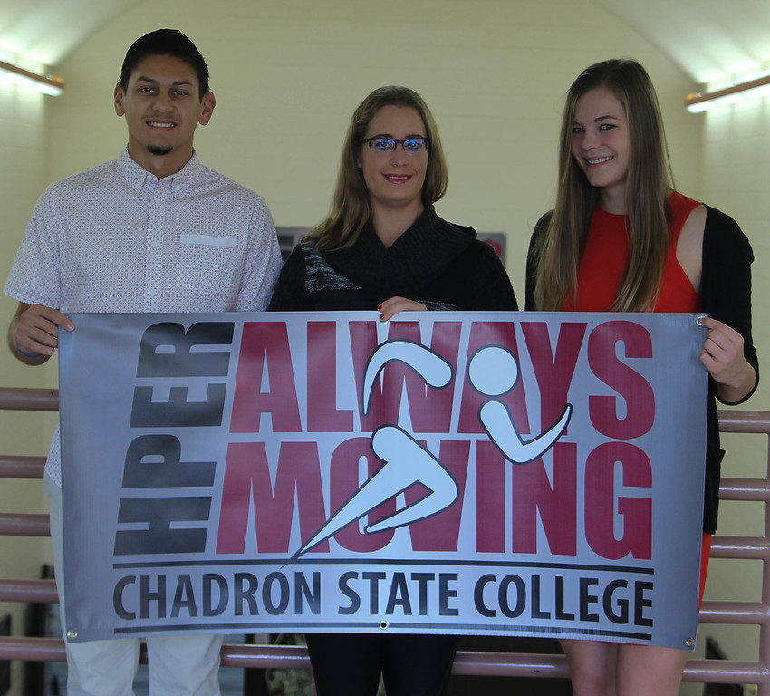 Chadron State College students, from left to right, Marco Sanchez of Casper, Wyo., Jyssica Forch of Stratton, Neb., and Dacia Stuhr of Bradshaw, Neb., are recipients of the CSC HPER department's Major of the Year awards. Not pictured: Nicholas Colgate of Rio Rico, Ariz. (Photo by Kelsey R. Brummels/Chadron State College)